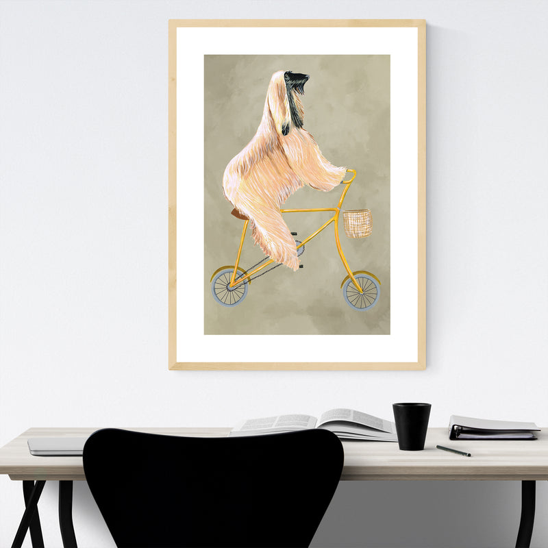Funny Dog Bicycle Painting Framed Art Print