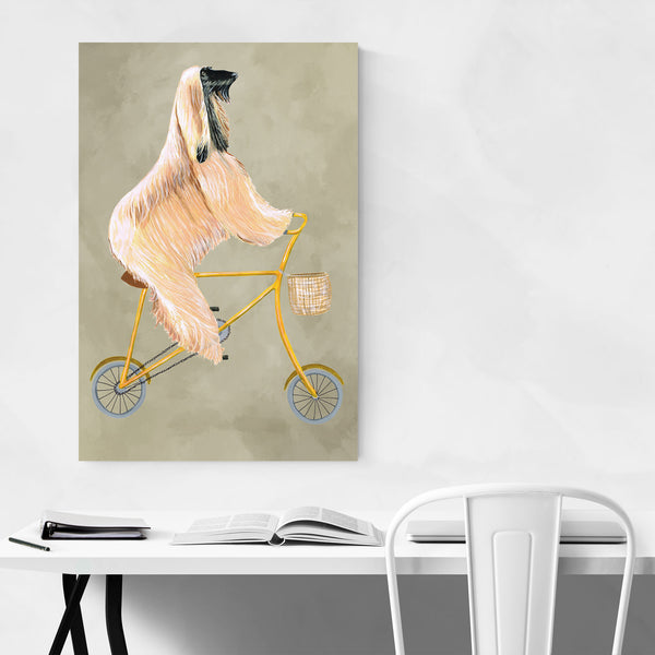 Funny Dog Bicycle Painting Art Print