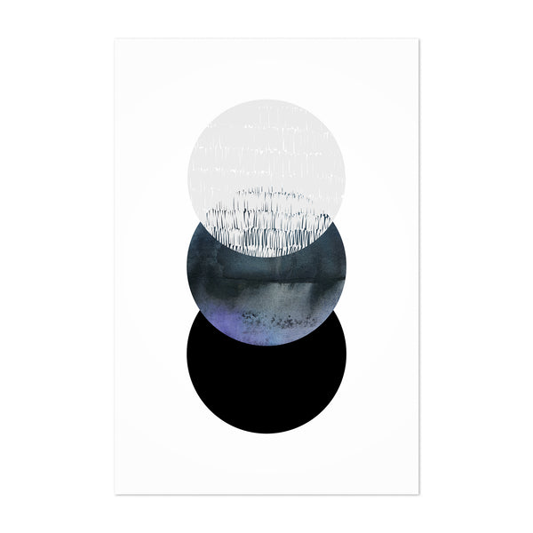 Abstract Minimal Circles Digital Art Print