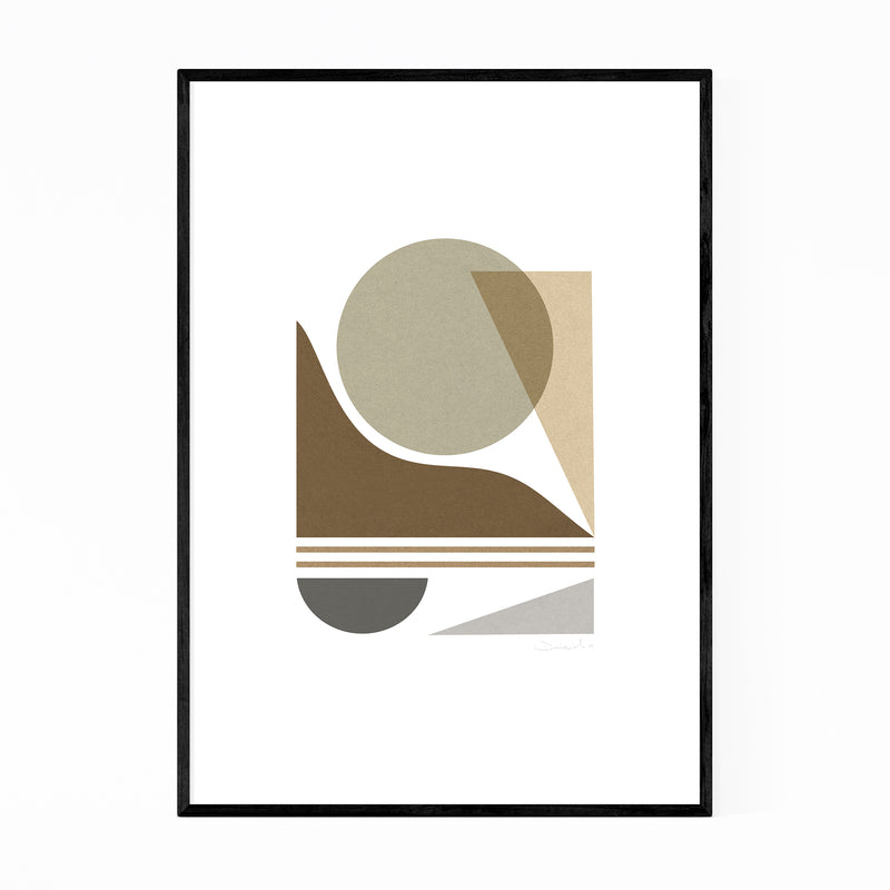 Modern Abstract Geometric Collage Framed Art Print