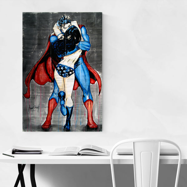 Superman Superwoman Love Art Print