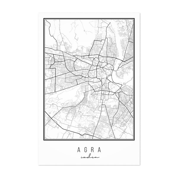 Agra India City Map Art Print