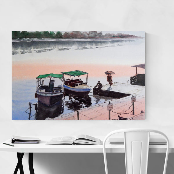 India River Boats Painting Art Print