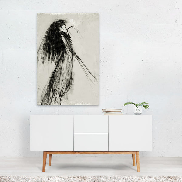 Fashion Smoking Feminine Drawing Art Print