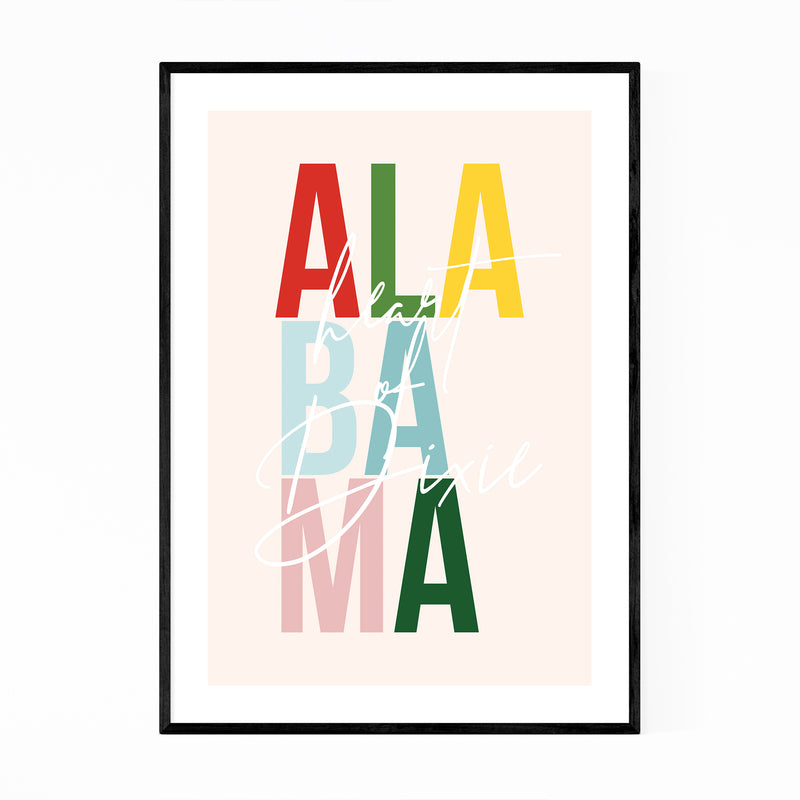 Alabama State Typography Framed Art Print