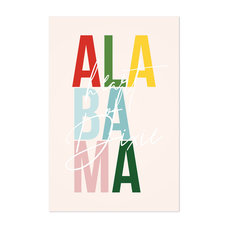 Alabama State Typography Art Print