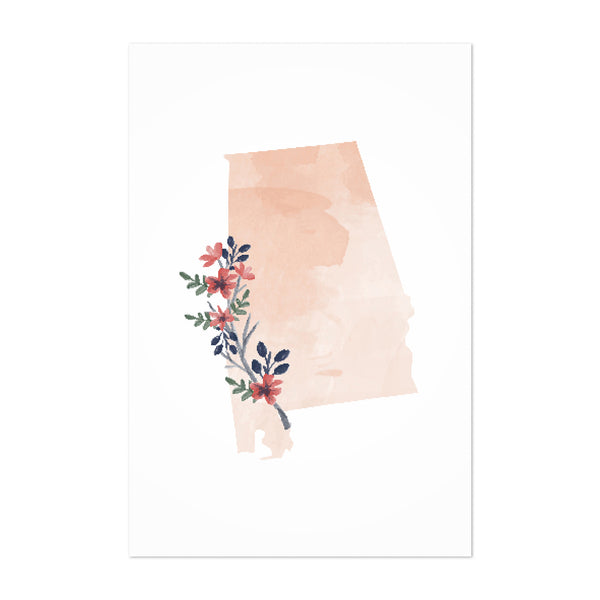 Alabama Floral State Map Art Print