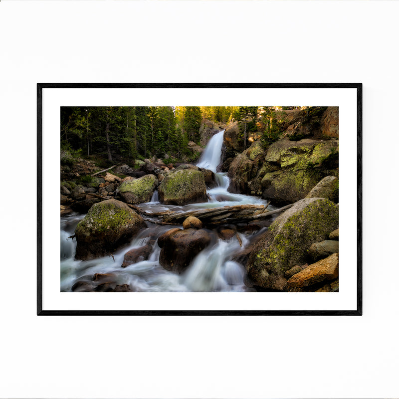 Alberta Waterfall Forest Framed Art Print