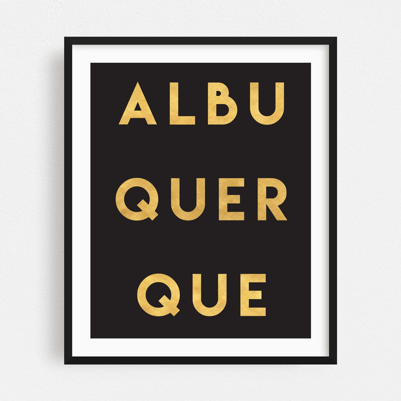 Albuquerque New Mexico Typography Framed Art Print