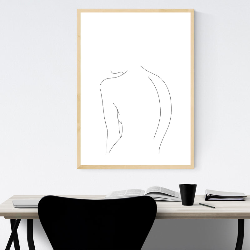 Nude Minimal Line Drawing Framed Art Print