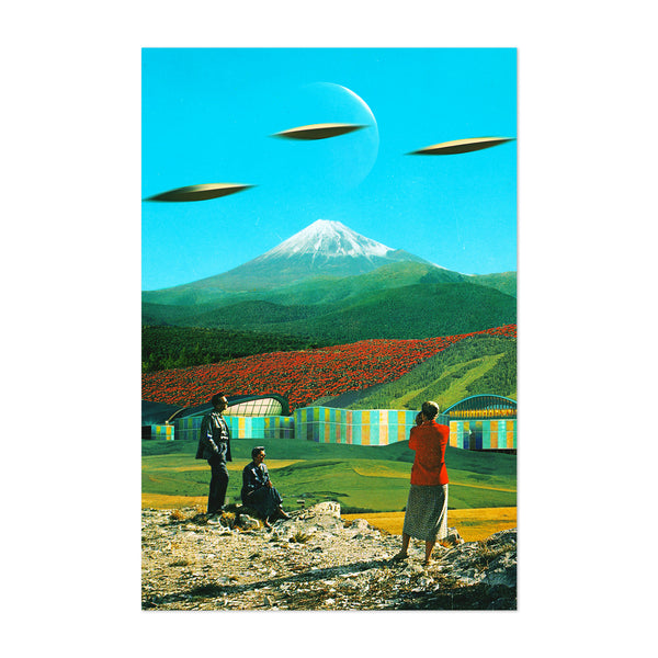 UFO Alien Mountain Vintage Collage Art Print