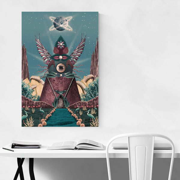 Nature Universe Space Aliens Collage Art Print