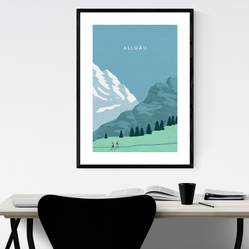 Allgäu Germany Vintage Travel Framed Art Print