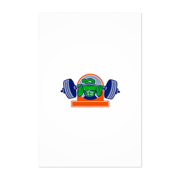 Alligator Lifting Heavy Barbell Circle Art Print
