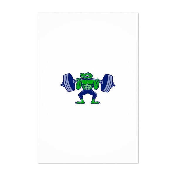 Alligator Lifting Heavy Barbell Mascot Art Print