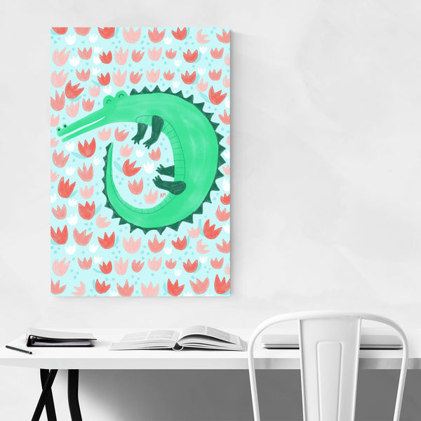 Alligator Tulips Funny Nature Humor Art Print
