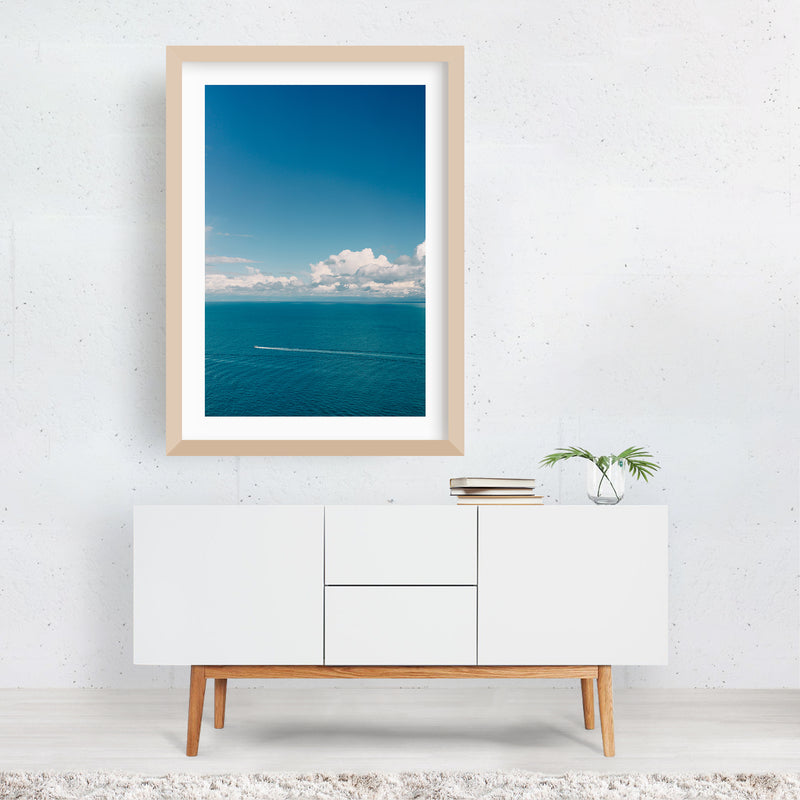 Positano Italy Beach Boat Nautical Framed Art Print