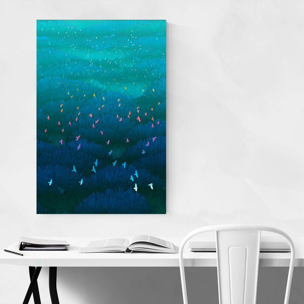 Nature Forest Abstract Birds Art Print