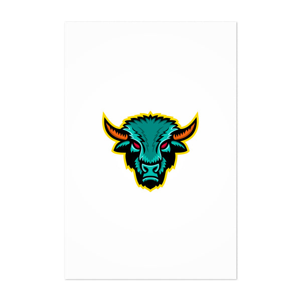 American Bison Head Sports Mascot Art Print