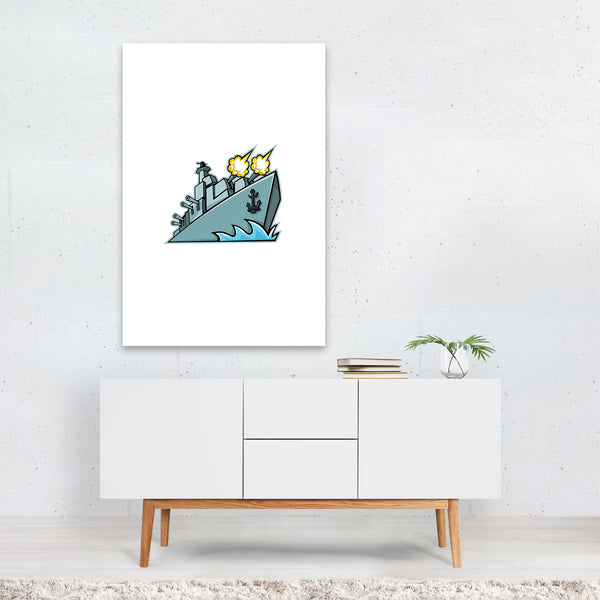 American Destroyer Warship Mascot Art Print