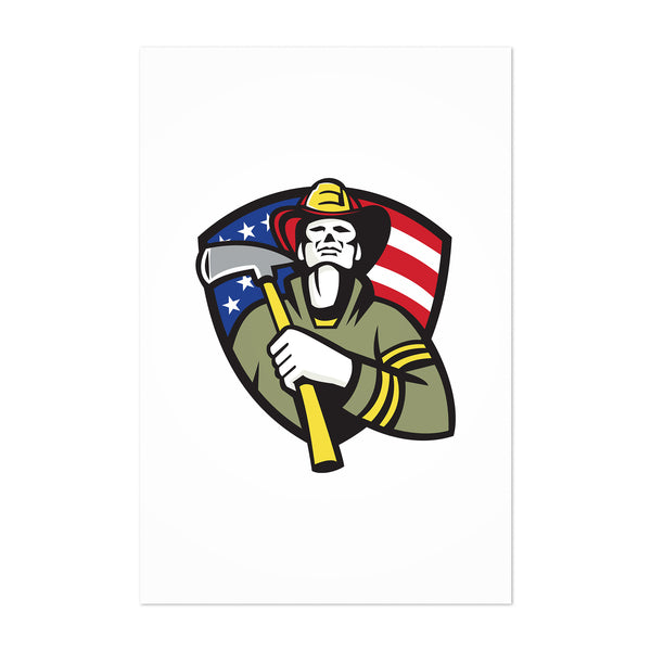 American Firefighter Retro Art Print