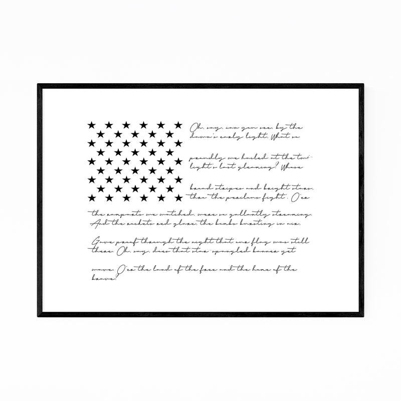 American Flag Typography Framed Art Print