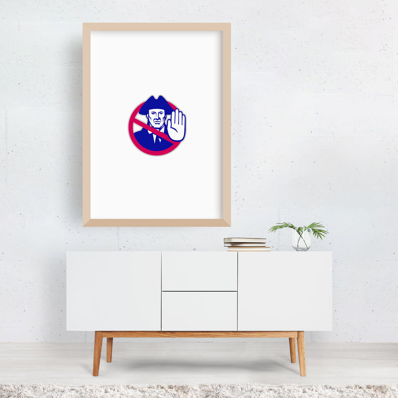 American Patriot Stop Sign Retro Framed Art Print