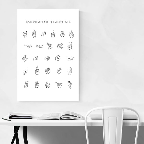 Alphabet Sign Language Typography Art Print