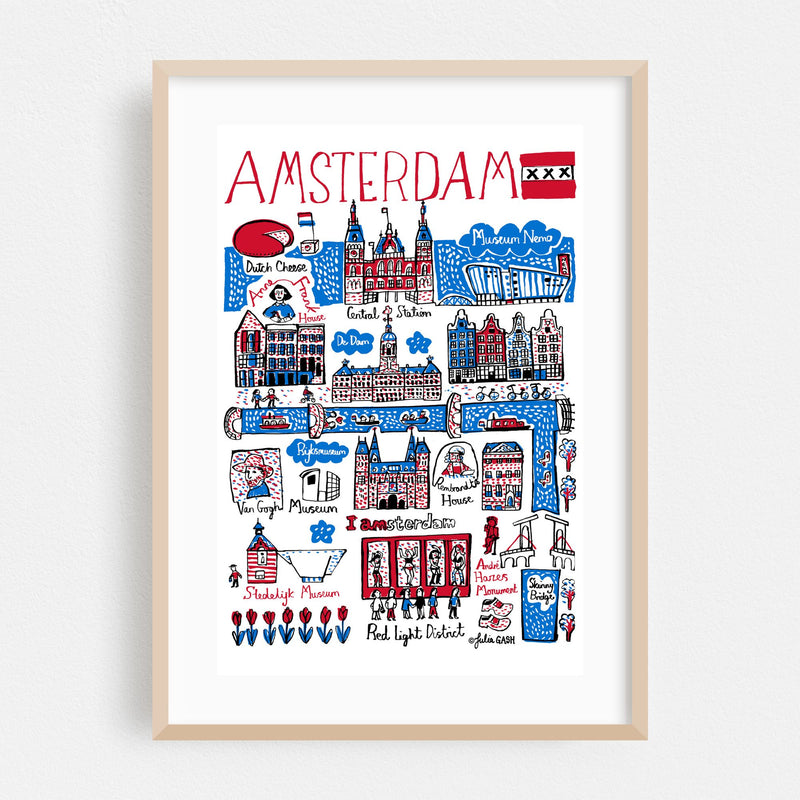 Amsterdam Travel Poster Framed Art Print
