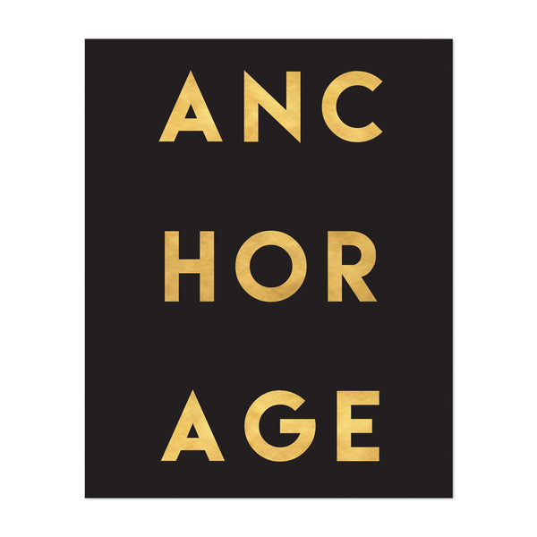 Anchorage Alaska Urban Typography Art Print