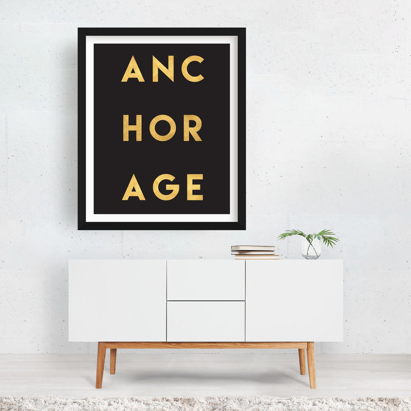 Anchorage Alaska Urban Typography Framed Art Print