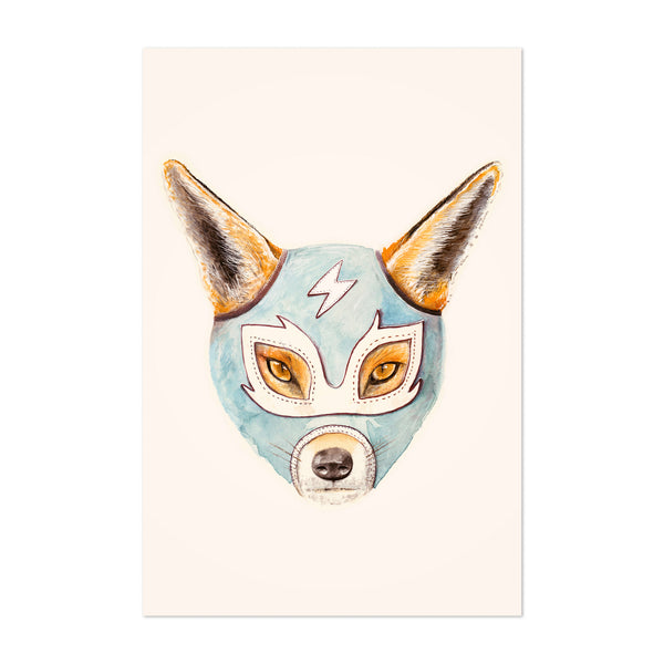 Wresting Fox Fun Cute Animal Art Print