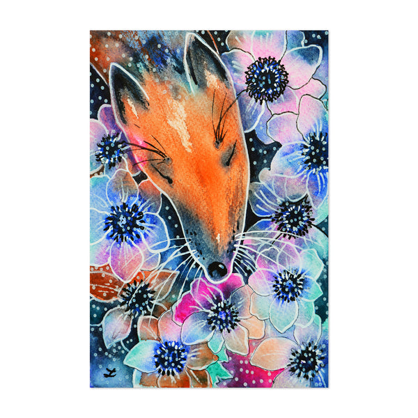 Anemone Animal Floral Botanical Fox Art Print