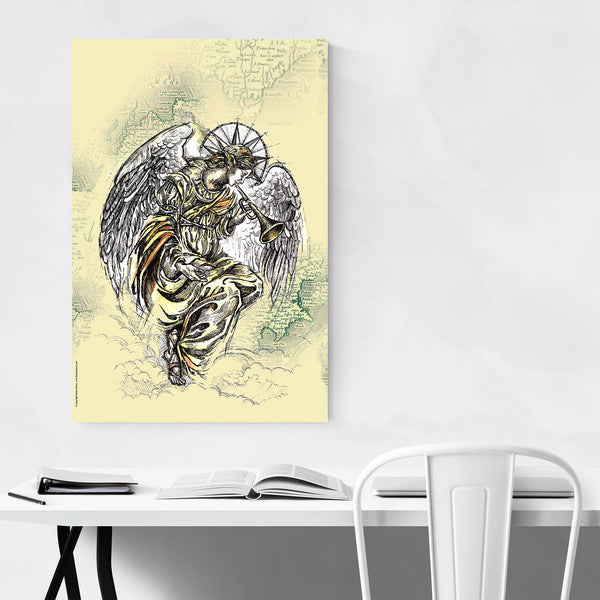 Vintage Angel Trumpet Illustration Art Print