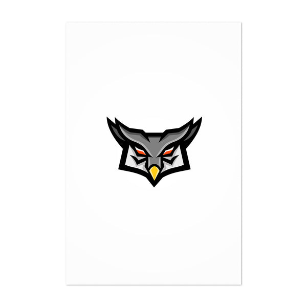 Angry Horned Owl Head Front Mascot Art Print