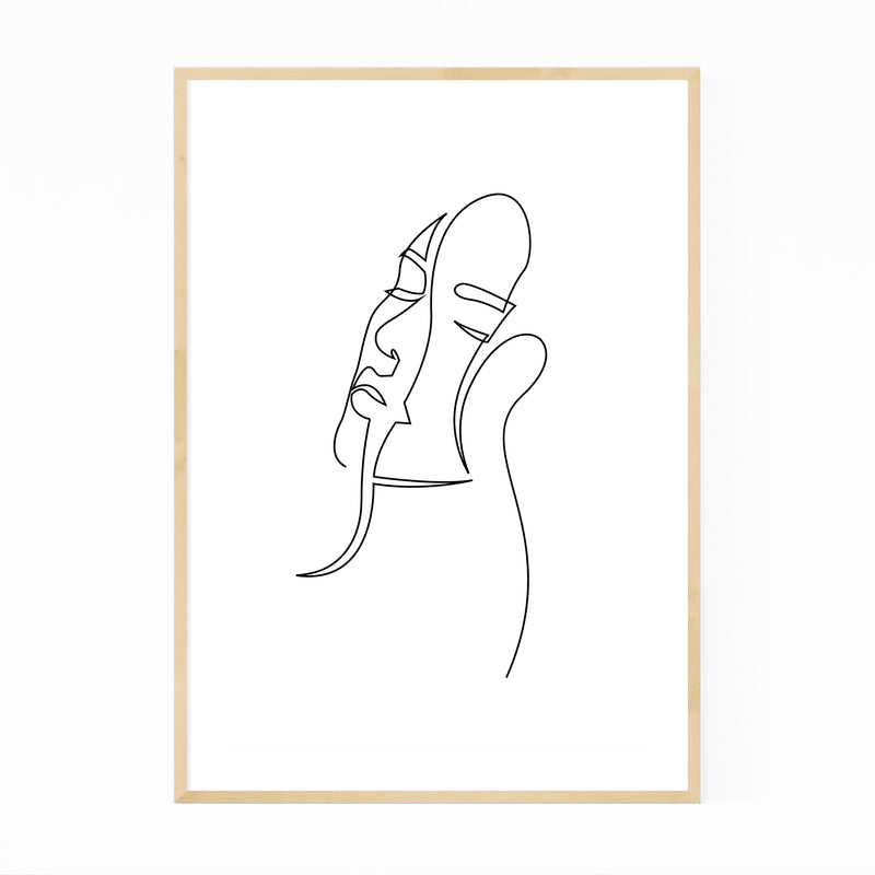 Feminine Minimal Line Drawing Framed Art Print