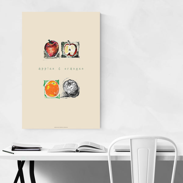 Apples & Oranges Food Kitchen Art Print
