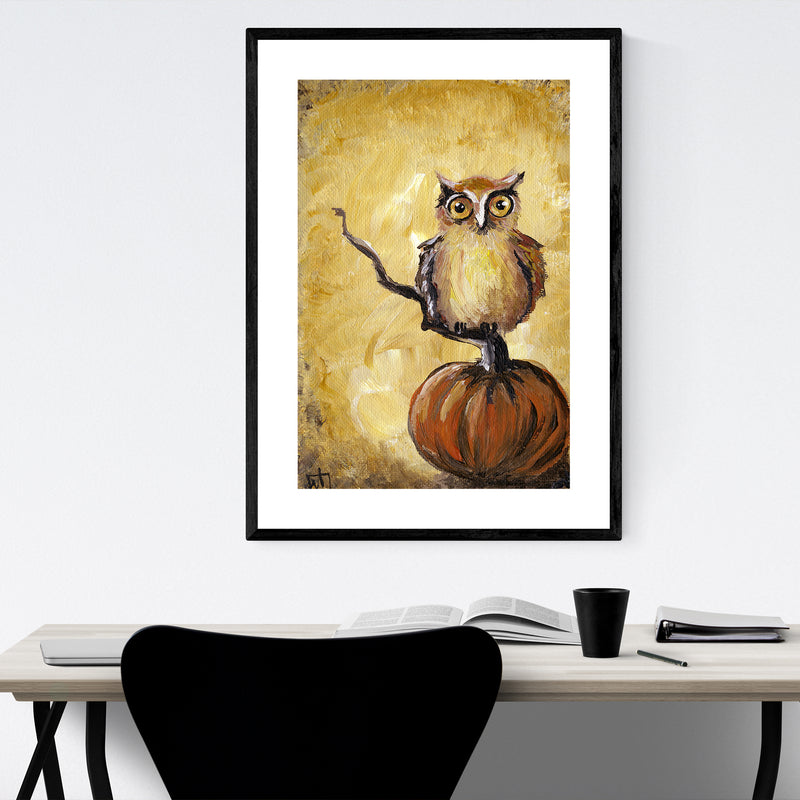 Owl Bird Animal Nature Painting Framed Art Print
