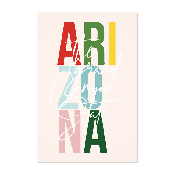 Arizona State Typography Art Print