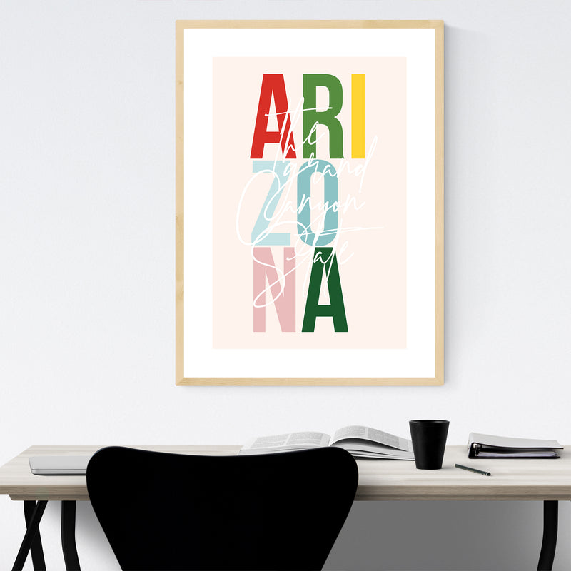 Arizona State Typography Framed Art Print