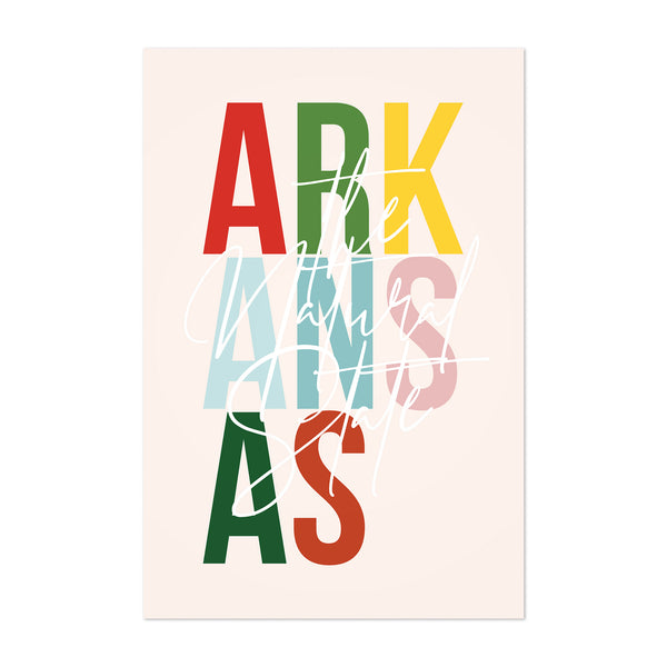 Arkansas State Typography Art Print