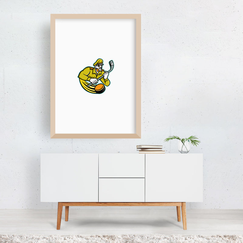 Army General Ice Hockey Sports Mascot Framed Art Print