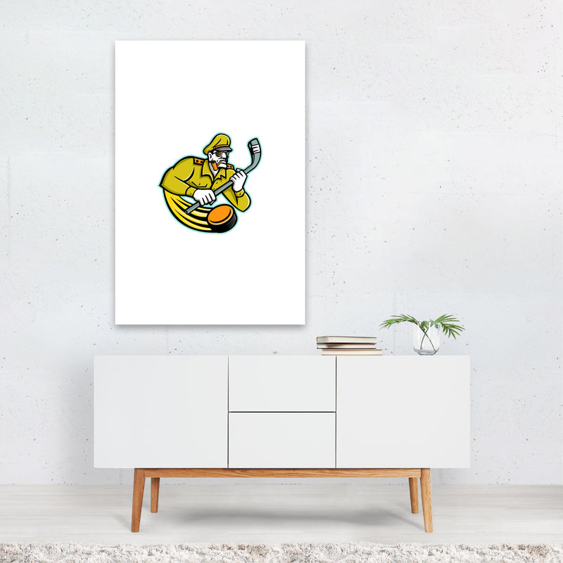 Army General Ice Hockey Sports Mascot Art Print