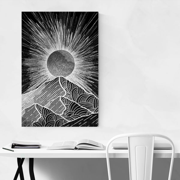 Black & White Mountain Nature Art Print