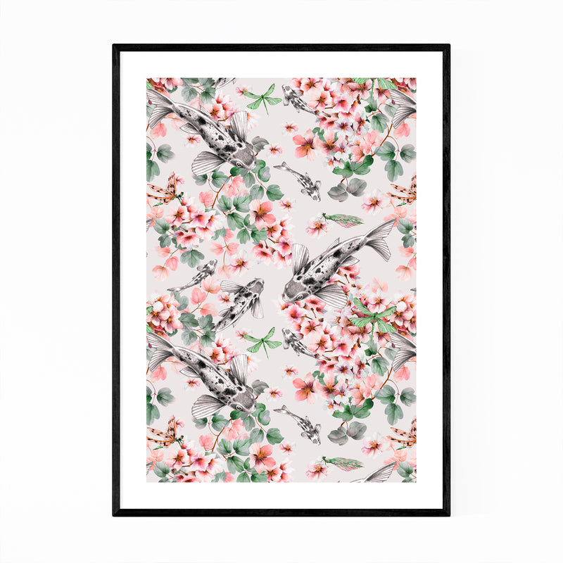 Abstract Fish Floral Botanical Framed Art Print