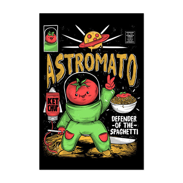 Astronaut Sports Kitchen Spaghetti Art Print