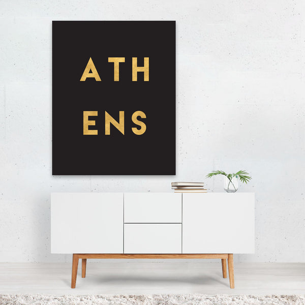 Athens Greece Urban Typography Art Print