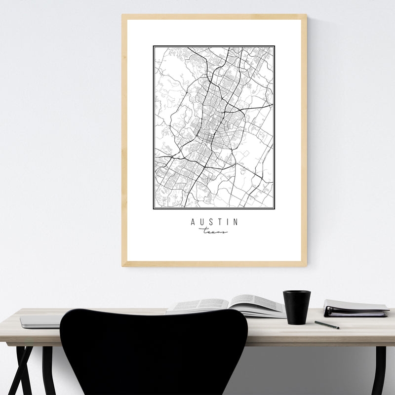 Austin Texas City Map Framed Art Print