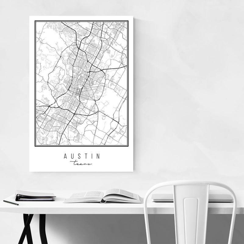Austin Texas City Map Art Print