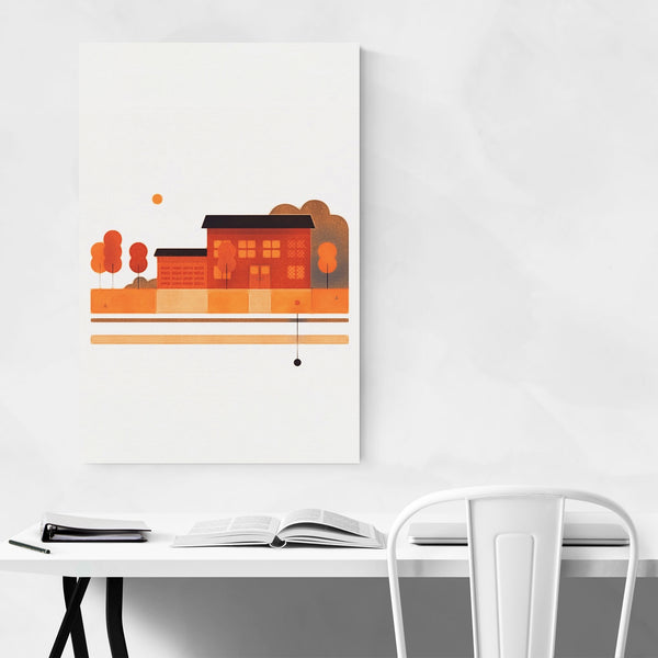 Autumn House Nature Screen Print Art Print